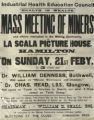 Health is wealth : mass meeting of miners (poster)