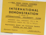 International demonstration in support of International Solidarity Fund (ticket) ; Kingsway Hall...