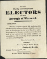 To the Worthy and Independent Electors of the Borough of Warwick